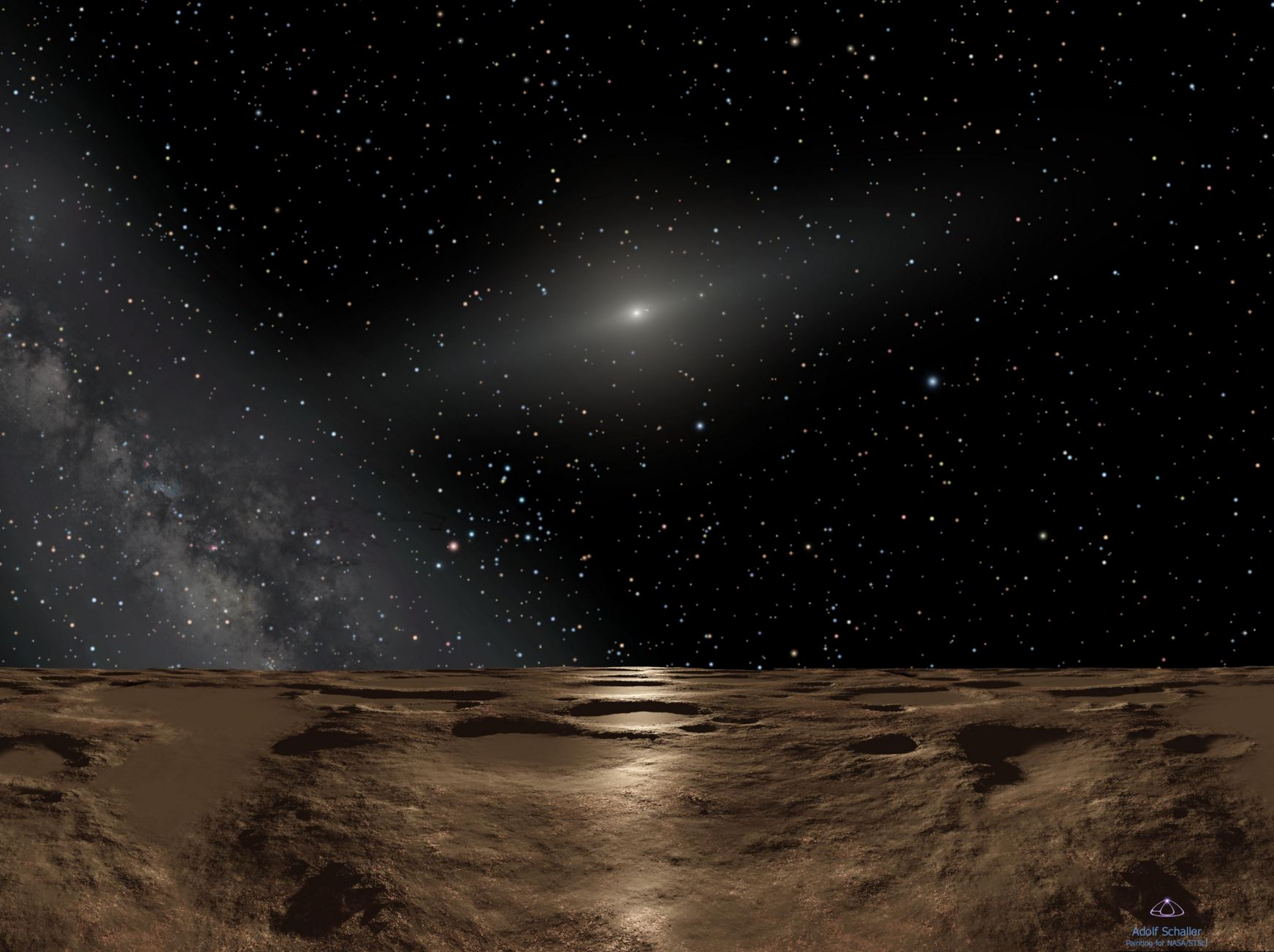 Artist's impression: Looking back 12.9-billion km towards the sun and the inner solar system from Sedna, one of the recently discovered minor planets in the Kuiper belt. - Image Credit:  NASA, ESA and Adolf Schaller