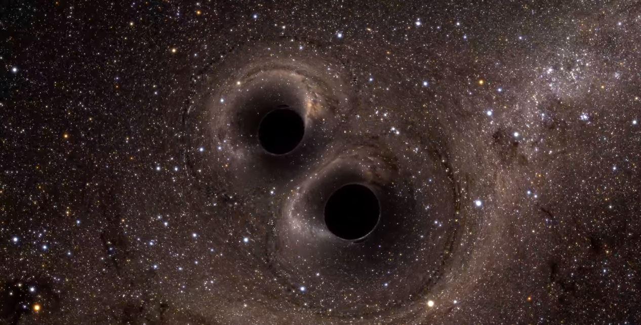 Two black holes collide. - Image Credit: University of Glasgow