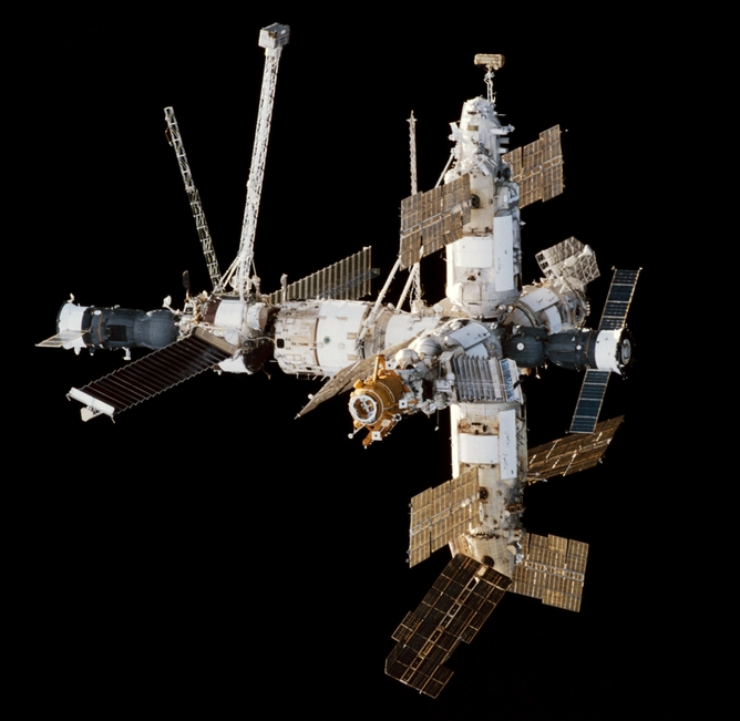 Mir space station viewed from Endeavour. - Image Credit: NASA