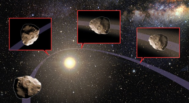 Artist's impression. An asteroid's orbit is altered as it passes close to Jupiter, Earth or Venus, such that its new orbit takes it near the Sun. The intense heat from the Sun causes the asteroid's surface to expand and fracture, and some of the material breaks off. As the surface material disintegrates, it creates dust and pebbles that spread out along the asteroid's orbit with time. If the orbit of the dust and pebbles ever intersects Earth, it can create a meteor shower. Art by Karen Teramura. - Image Credit:Karen Teramura