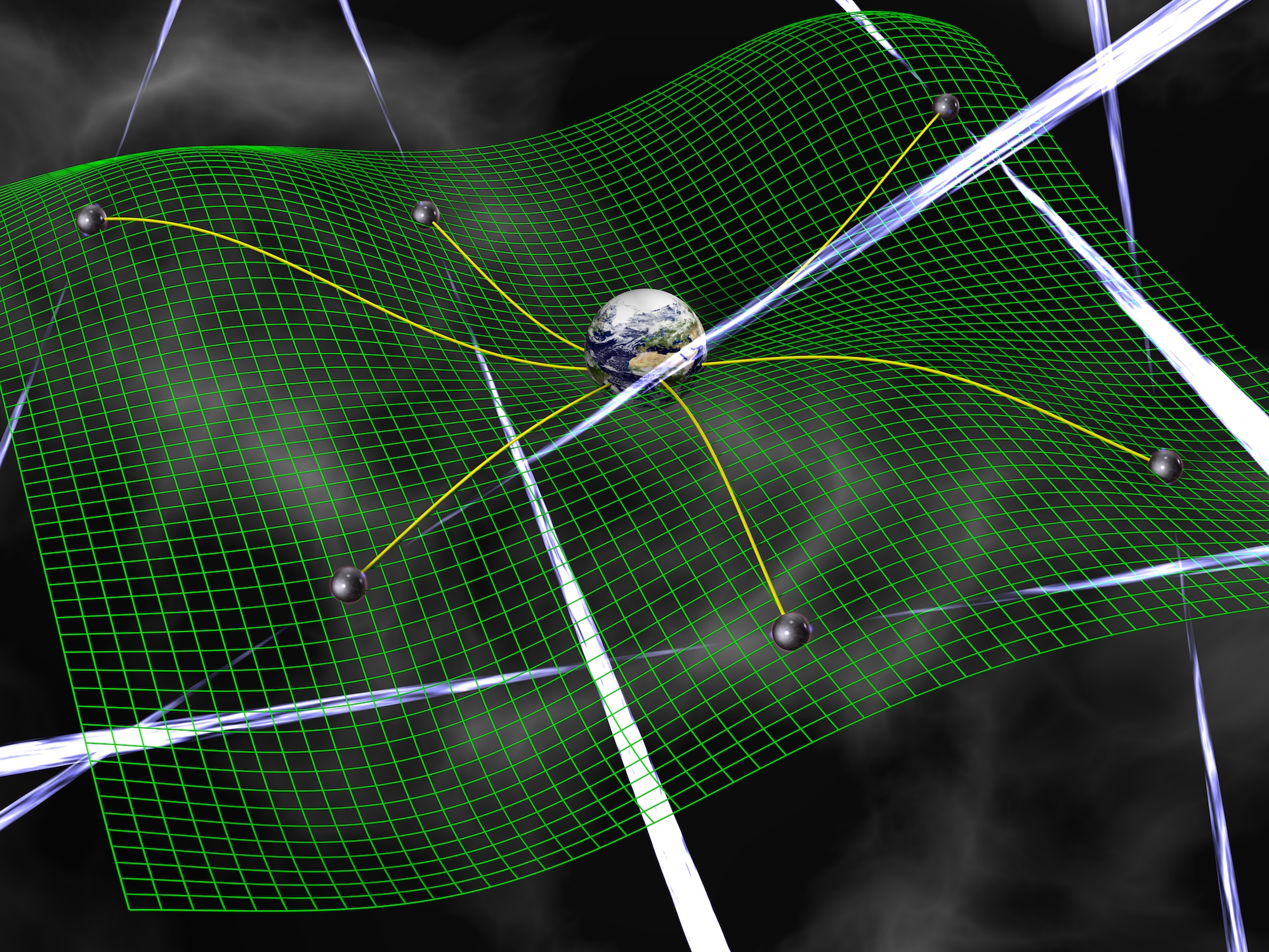 Gravitational waves are ripples in space-time, represented by the green grid, produced by accelerating bodies such as interacting supermassive black holes. These waves affect the time it takes for radio signals from pulsars to arrive at Earth. - Image   Credits: David Champion