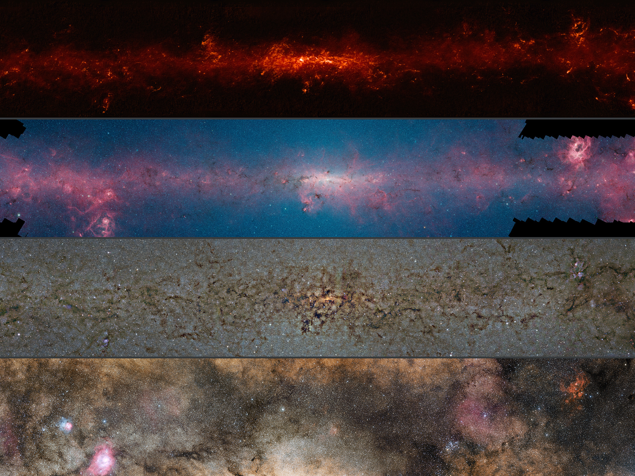 This comparison shows the central regions of the Milky Way observed at different wavelengths.  The top panel shows compact sources of submillimetre radiation detected by APEX as part of the ATLASGAL survey, combined with complementary data from ESA's Planck satellite, to capture more extended features.  The second panel shows the same region as seen in shorter, infrared, wavelengths by the NASA Spitzer Space Telescope.  The third panel shows the same part of sky again at even shorter wavelengths, the near-infrared, as seen by ESO's VISTA infrared survey telescope at the Paranal Observatory in Chile. Regions appearing as dark dust tendrils here show up brightly in the ATLASGAL view.  Finally the bottom picture shows the more familiar view in visible light, where most of the more distant structures are hidden from view.  The significance of the colours varies from image to image and they cannot be directly compared. -  Credit:  ESO/ATLASGAL consortium/NASA/GLIMPSE consortium/VVV Survey/ESA/Planck/D. Minniti/S. Guisard -  Acknowledgement: Ignacio Toledo, Martin Kornmesser