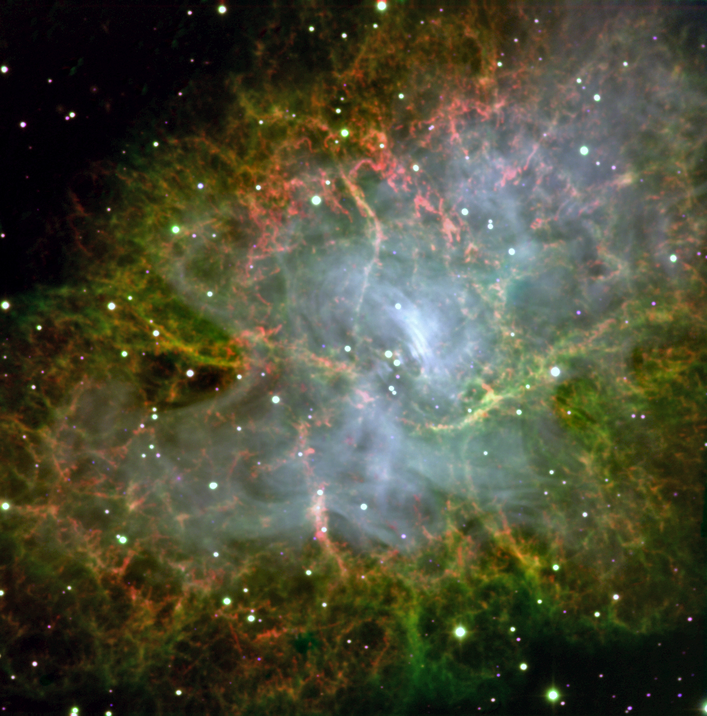 This image of the Crab Pulsar was taken with CHIMERA, an instrument on the Hale telescope at the Palomar Observatory, which is operated by the California Institute of Technology. This pulsar is the end result of a star whose mass collapsed at the end of its life. It weighs as much as our sun, but spins 32 times per second. The instrument focused on the pulsar for a 300-second exposure to produce a color image. CHIMERA zoomed in on the pulsar and imaged it very fast, then imaged the rest of the scene slowly to create this image. – Image Credits: NASA/JPL-Caltech