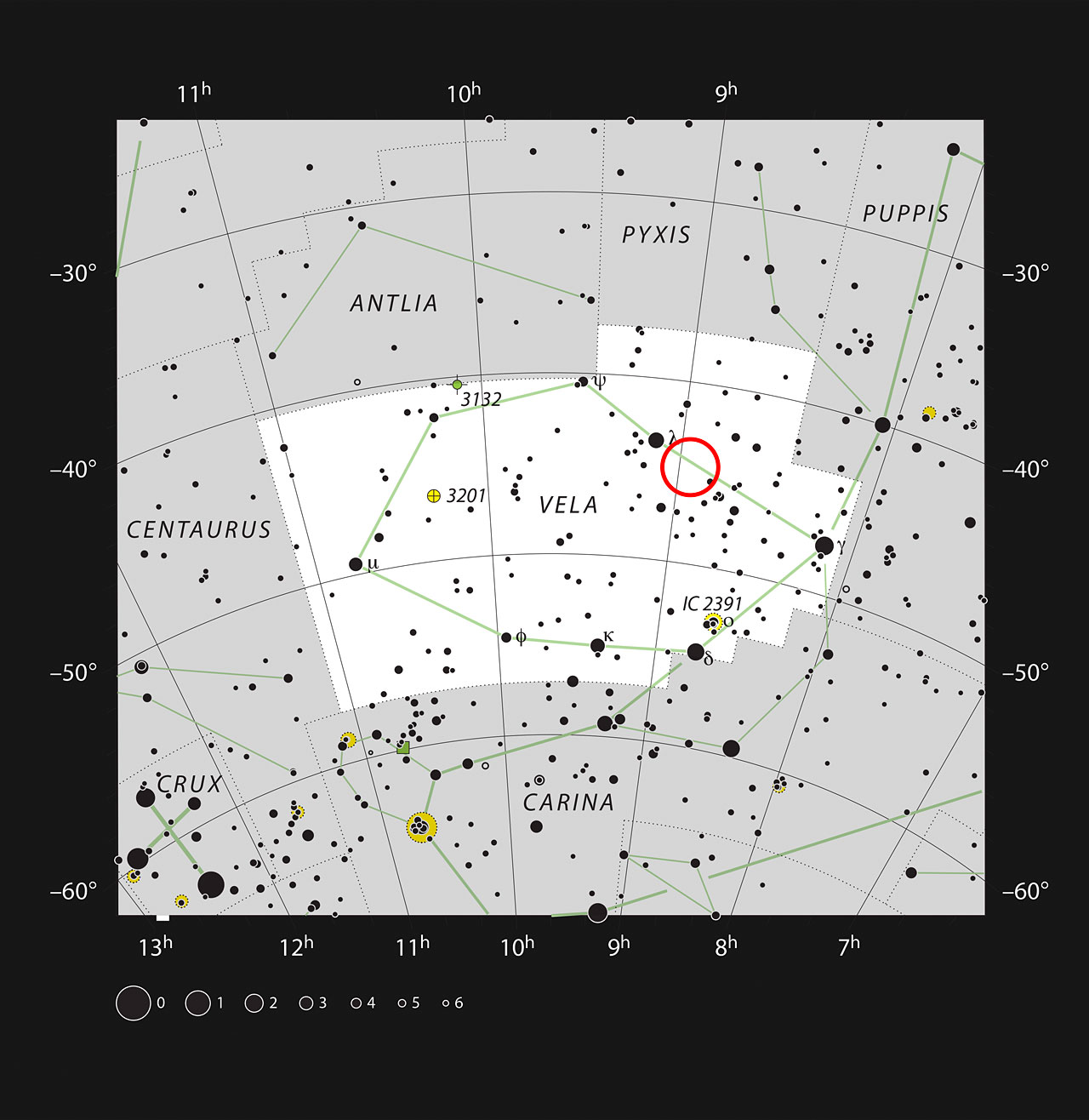This chart shows the location of the aging double star IRAS 08544-4431 in the constellation of Vela (The Sails). All stars visible to the naked eye on a dark and clear night are shown. This star is visible with a small telescope as an unremarkable single faint point of light. - Image   Credit:   ESO/IAU and Sky & Telescope