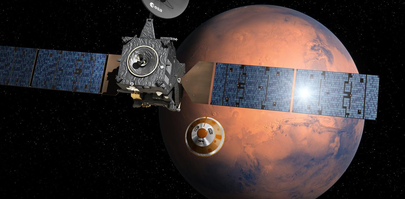 Schiaparelli separating from Trace Gas Orbiter.- Image Credit: ESA–D. Ducros