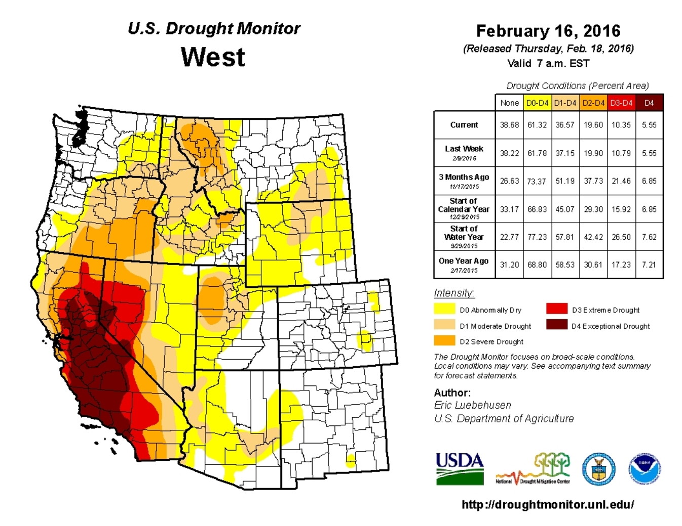 The California drought is continuing into its fifth year. - Image Credit: US Drought Monitor