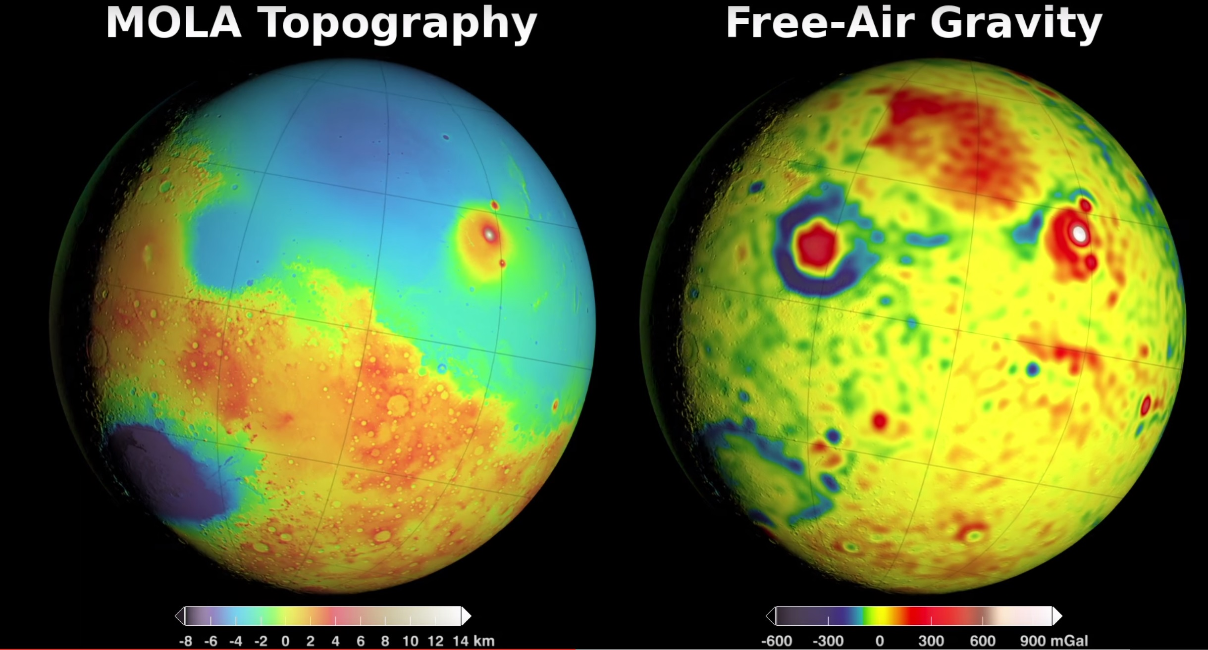 Scientists have used small fluctuations in the orbits of three NASA spacecraft to map the gravity field of Mars. - Image   Credits: NASA/GSFC/Scientific Visualization Studio