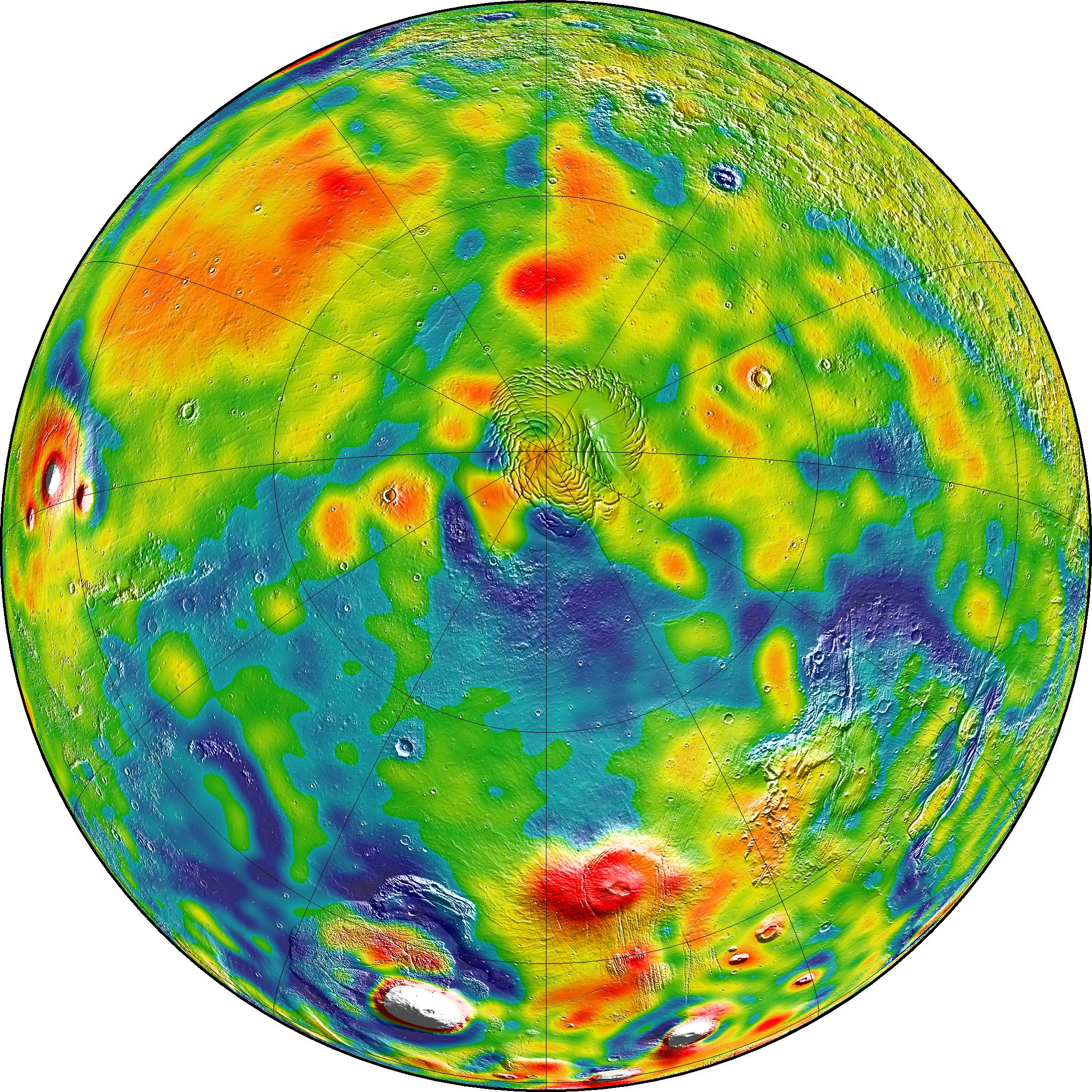 A map of Martian gravity looking down on the North Pole (center). White and red are areas of higher gravity; blue indicates areas of lower gravity. - Image   Credits: MIT/UMBC-CRESST/GSFC
