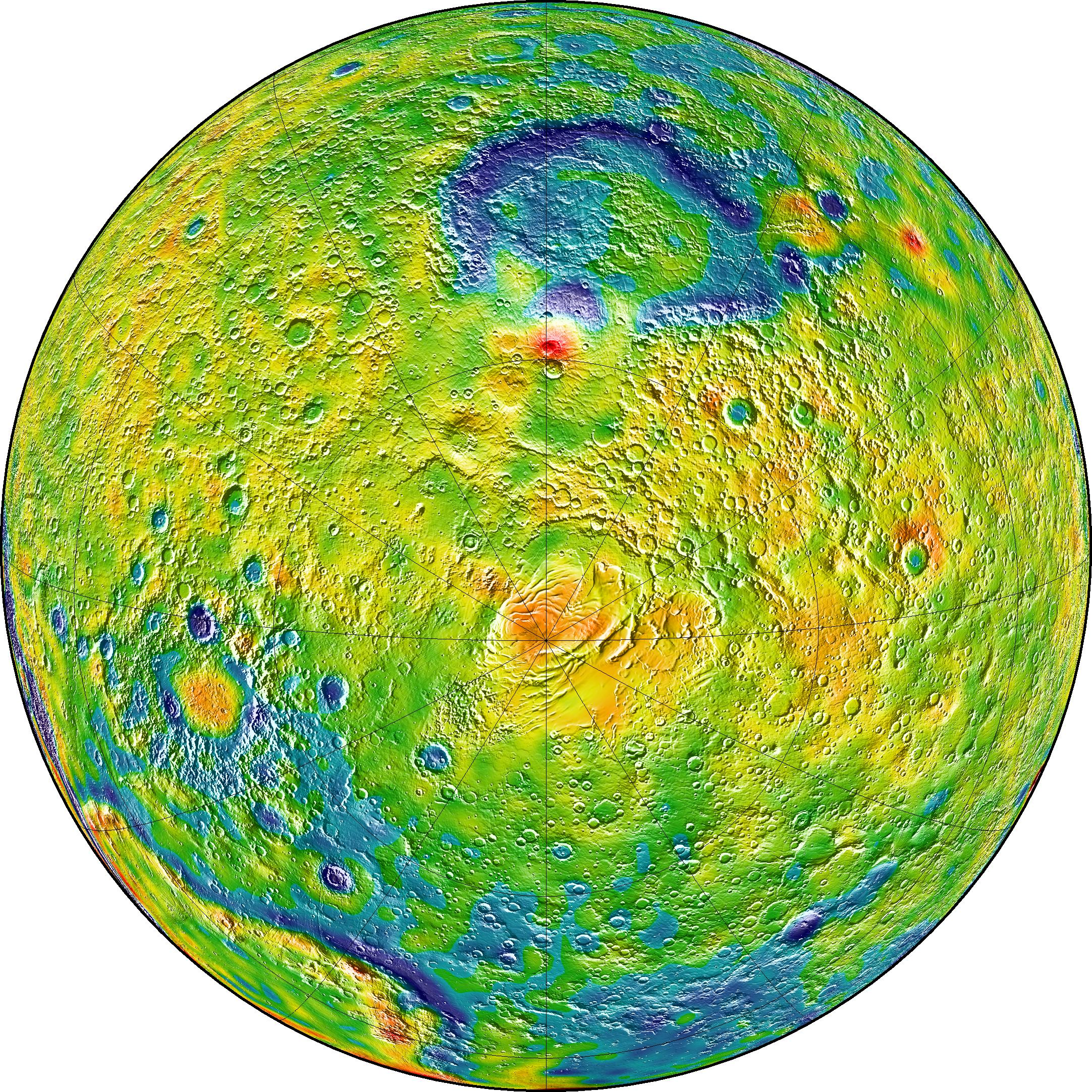A map of Martian gravity looking down at the South Pole (center). White and red are areas of higher gravity; blue indicates areas of lower gravity. - Image   Credits: MIT/UMBC-CRESST/GSFC