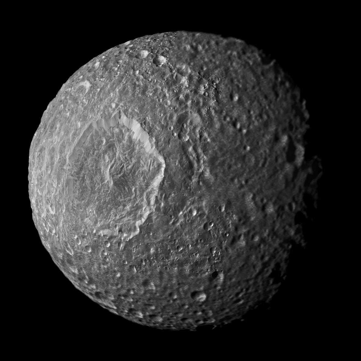 Mimas (396km in diameter) is probably the same age as Enceladus. - Image Credit: NASA/JPL/Space Science Institute