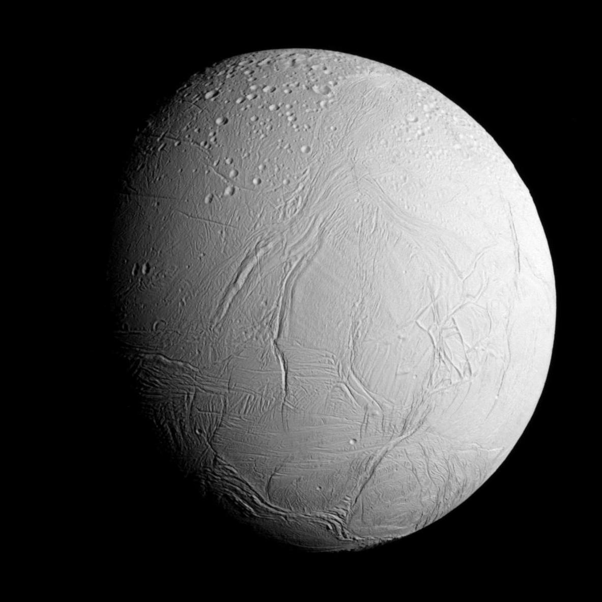 Enigmatic Enceladus (504km in diameter). - Image Credit: NASA/JPL-Caltech/Space Science Institute