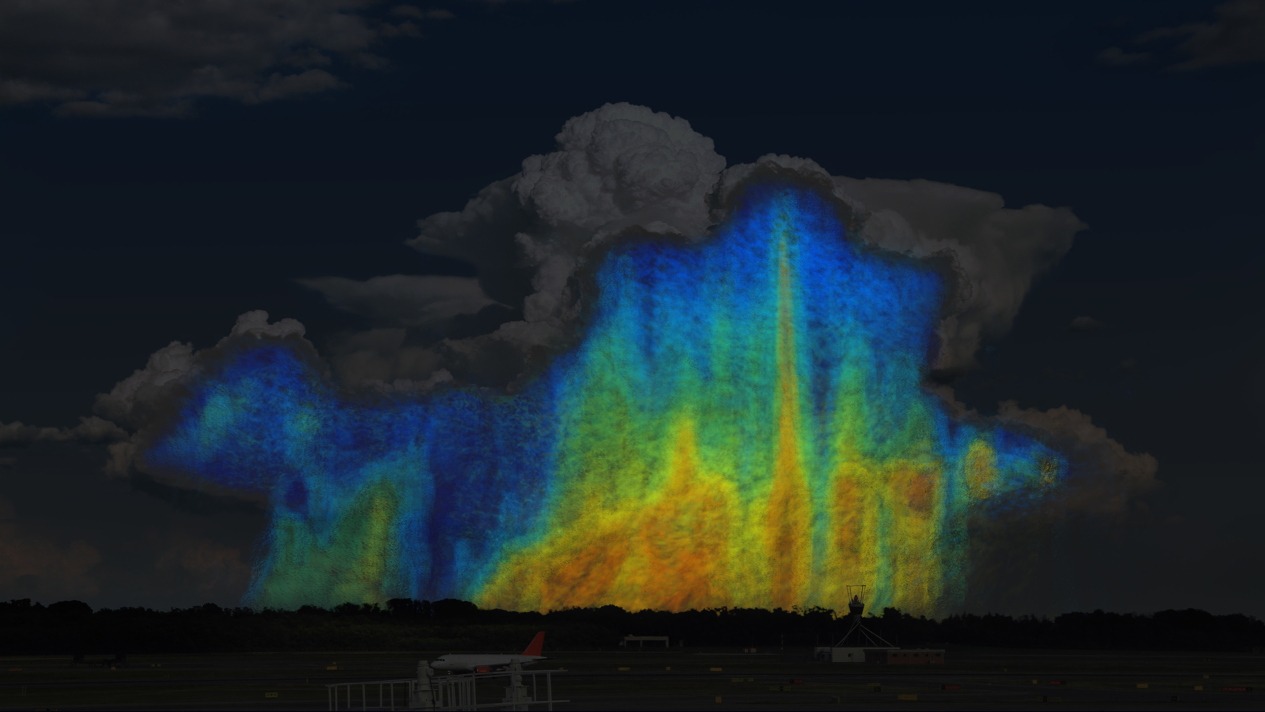 This is a conceptual image showing how the size and distribution of raindrops varies within a storm. Blues and greens represent small raindrops that are 0.5-3mm in size. Yellows, oranges, and reds represent larger raindrops that are 4-6mm in size. A storm with a higher ratio of yellows, oranges, and reds will contain more water than a storm with a higher ratio of blues and greens. - Image   Credits: NASA/Goddard