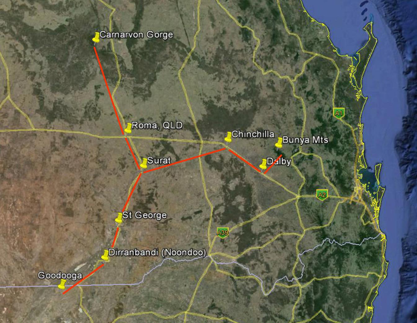 Carnarvon Gorge and Bunya Mts star maps overlaid on road map. - Image Credit: Google Earth