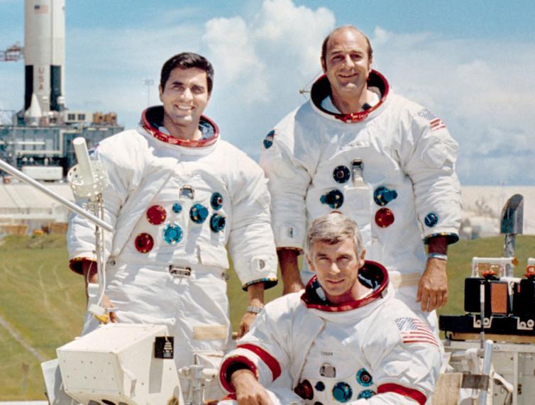 Apollo 17 crew, with commander Cernan seated. - Image Credit:NASA