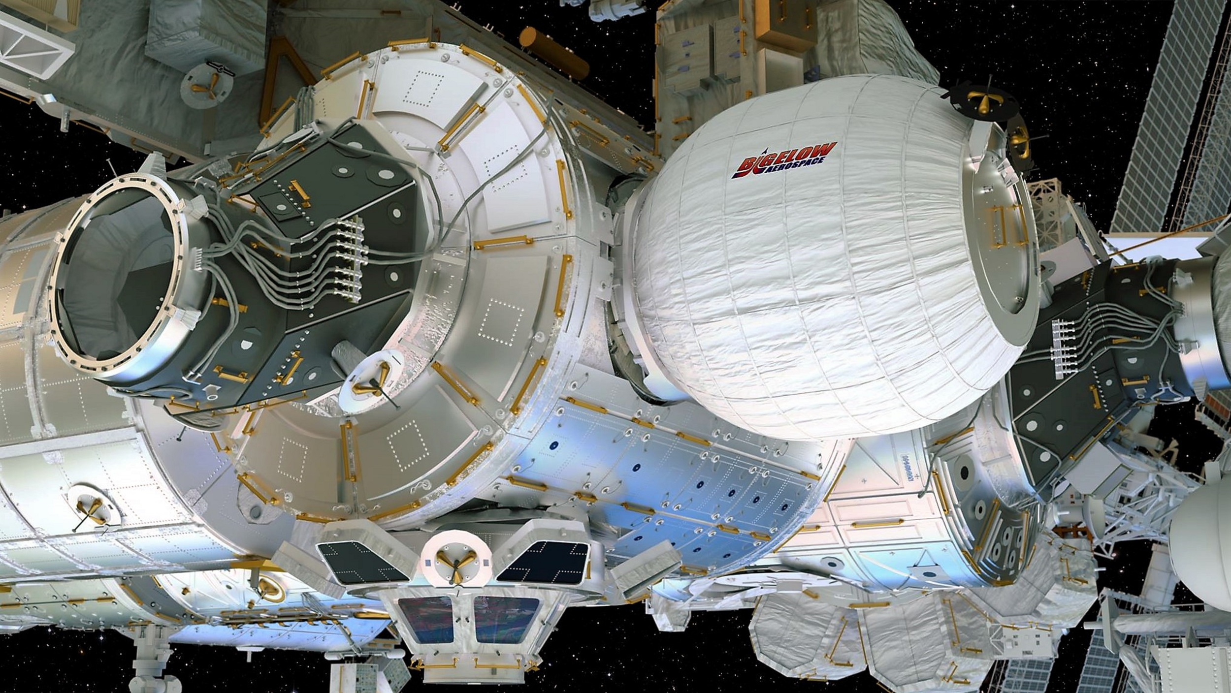 This artist's concept depicts the Bigelow Expandable Activity Module attached to the International Space Station's Tranquility module. – Image Credits: Bigelow Aerospace