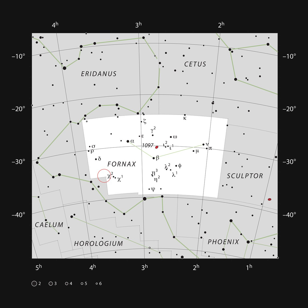 This chart shows the naked eye stars in the southern constellation of Fornax (The Furnace). Although the constellation is faint, it is host to the nearby Fornax Galaxy Cluster. The location of the cluster is indicated with a red circle. Many of the galaxies in this cluster are visible in a small telescope as faint smudges on the sky – Image Credit: ESO, IAU and Sky & Telescope
