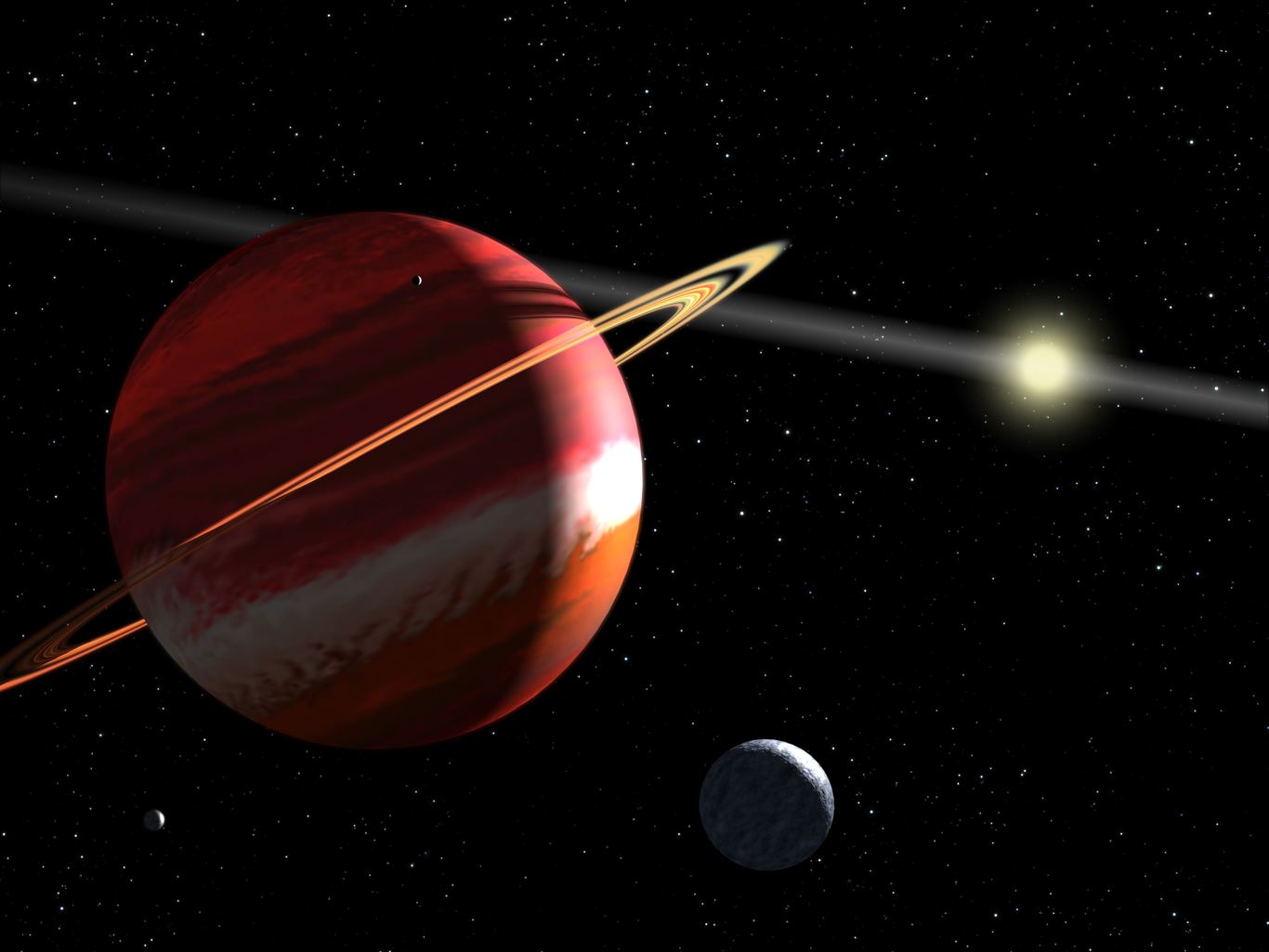 Artist's impression of Epsilon Eridani b, with the system's asteroid belt visible in the background. - Image Credit: NASA, ESA, G. Bacon