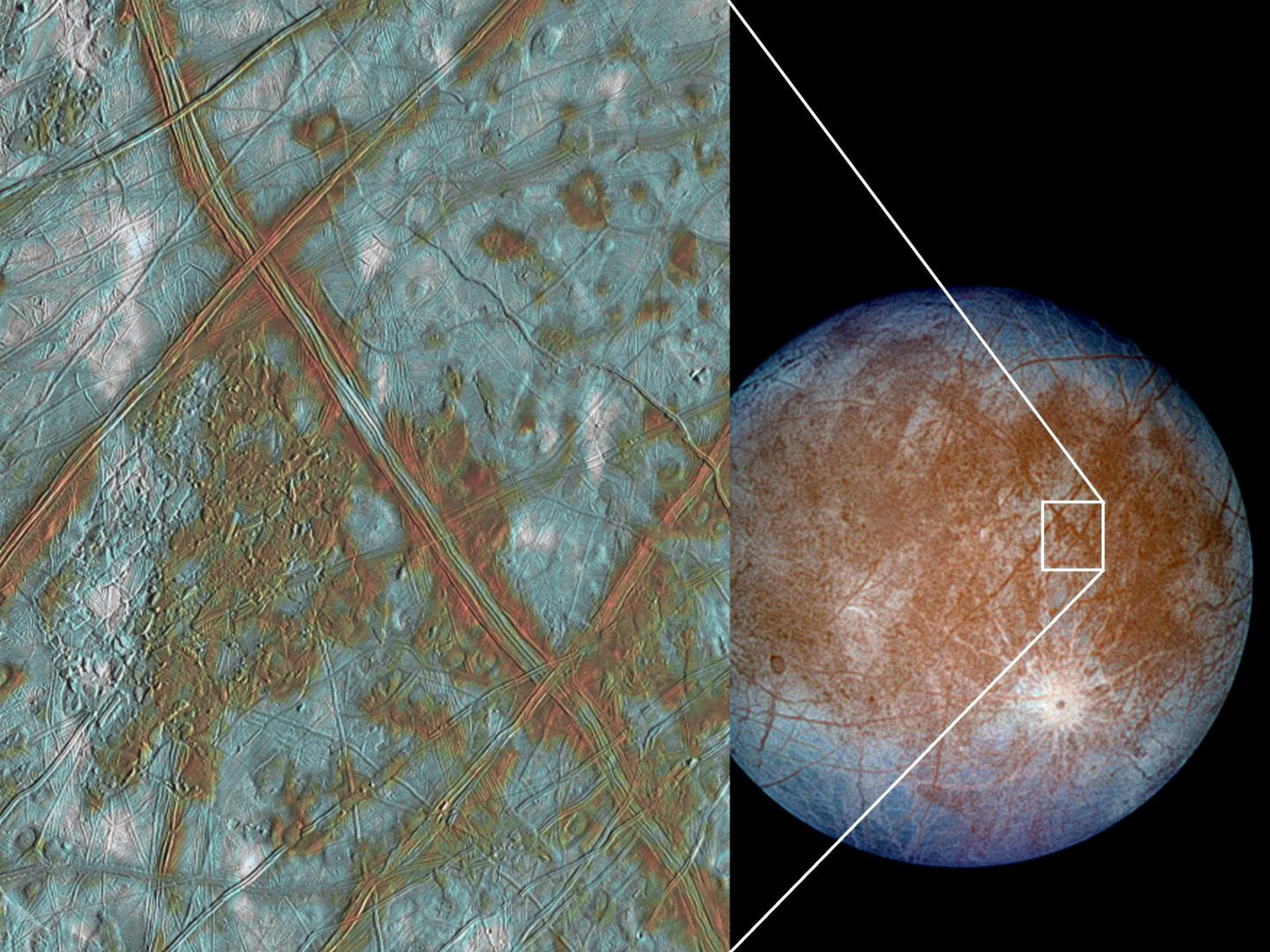 As the moon Europa's icy shell is pushed and pulled by Jupiter's gravity, it heaves up and down. That process creates enough heat, scientists think, to create a global subsurface ocean on Europa. Experiments by Brown University researchers suggests that this heating process, known as tidal dissipation, creates more heat in ice that scientists have generally assumed. The insight could help scientists model the thickness of Europa's icy shell. – Image Credit: NASA/JPL