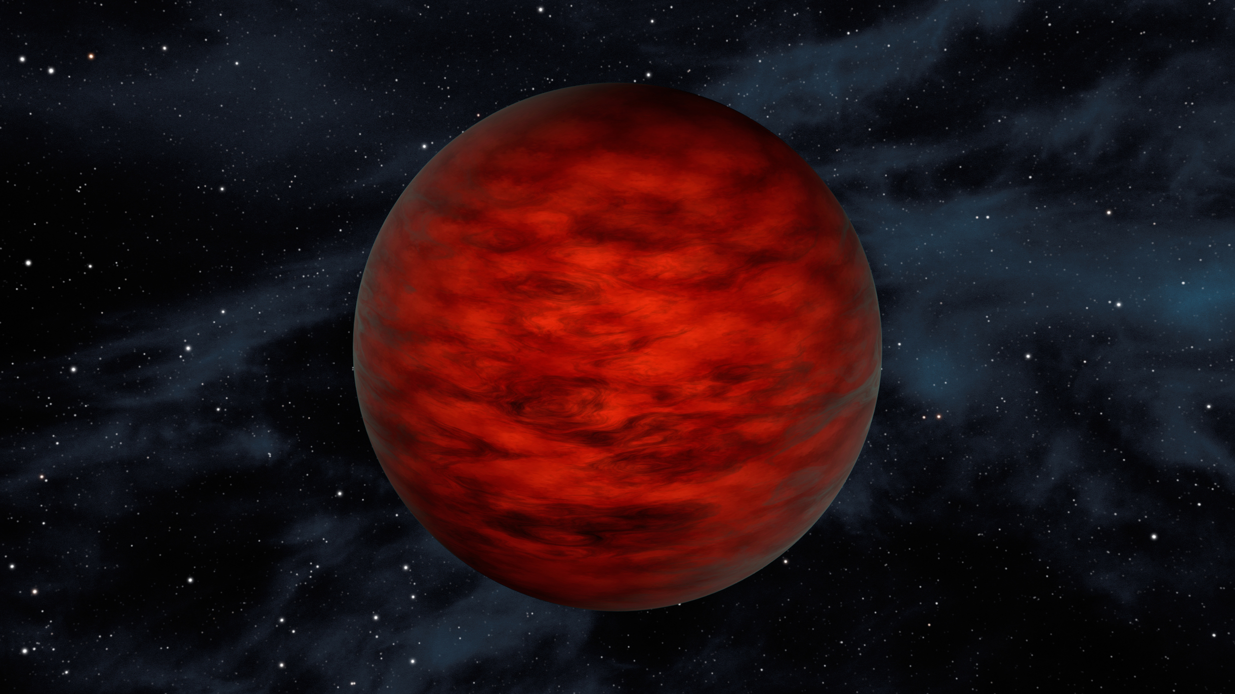 "A young, free-floating world sits alone in space in this illustration. The object, called WISEA J114724.10−204021.3, is thought to be an exceptionally low-mass ""brown dwarf,"" which is a star that lacked enough mass to burn nuclear fuel and glow like a star. Astronomers using data from NASA's WISE and 2MASS sky surveys found the object in TW Hydrae – a young, 10-million-year-old association of stars. – Image Credits: NASA/JPL-Caltech"
