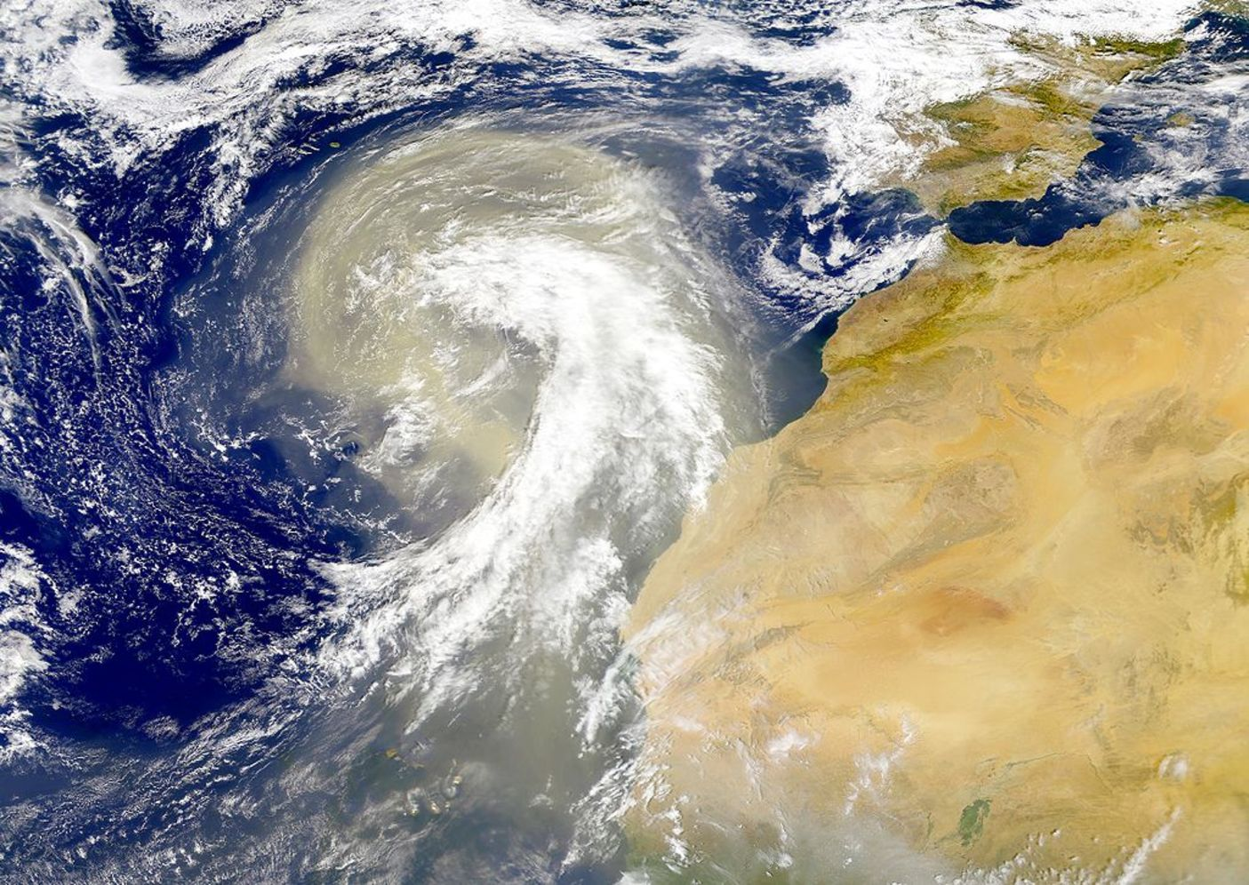 Sahara dust plume in 1998, heading over the north-east Atlantic Ocean.– Image Credit:  NASA Visible Earth