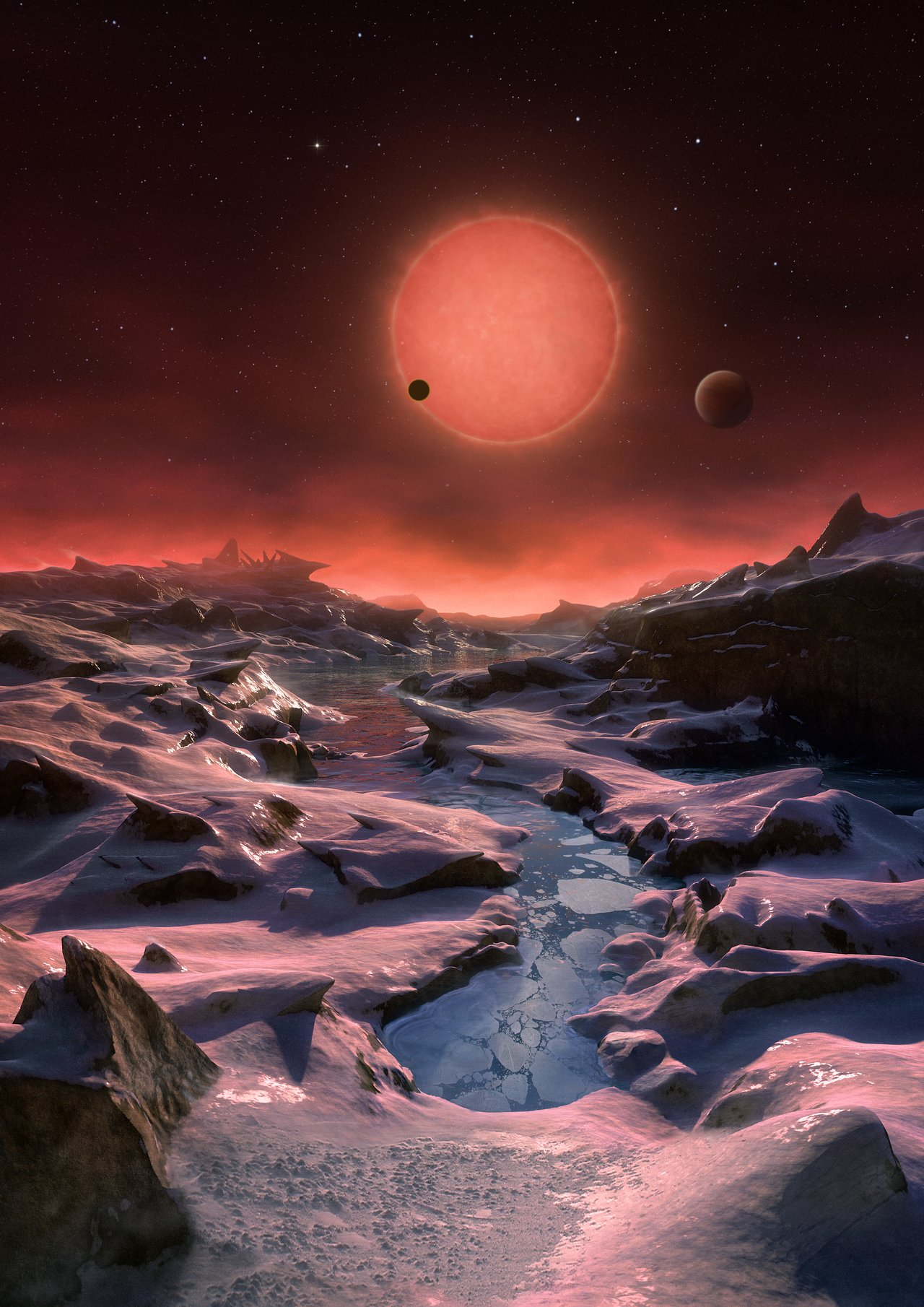 Artist's impression of the ultracool dwarf star TRAPPIST-1 from the surface of one of its planets - Image Credit:  ESO/M. Kornmesser