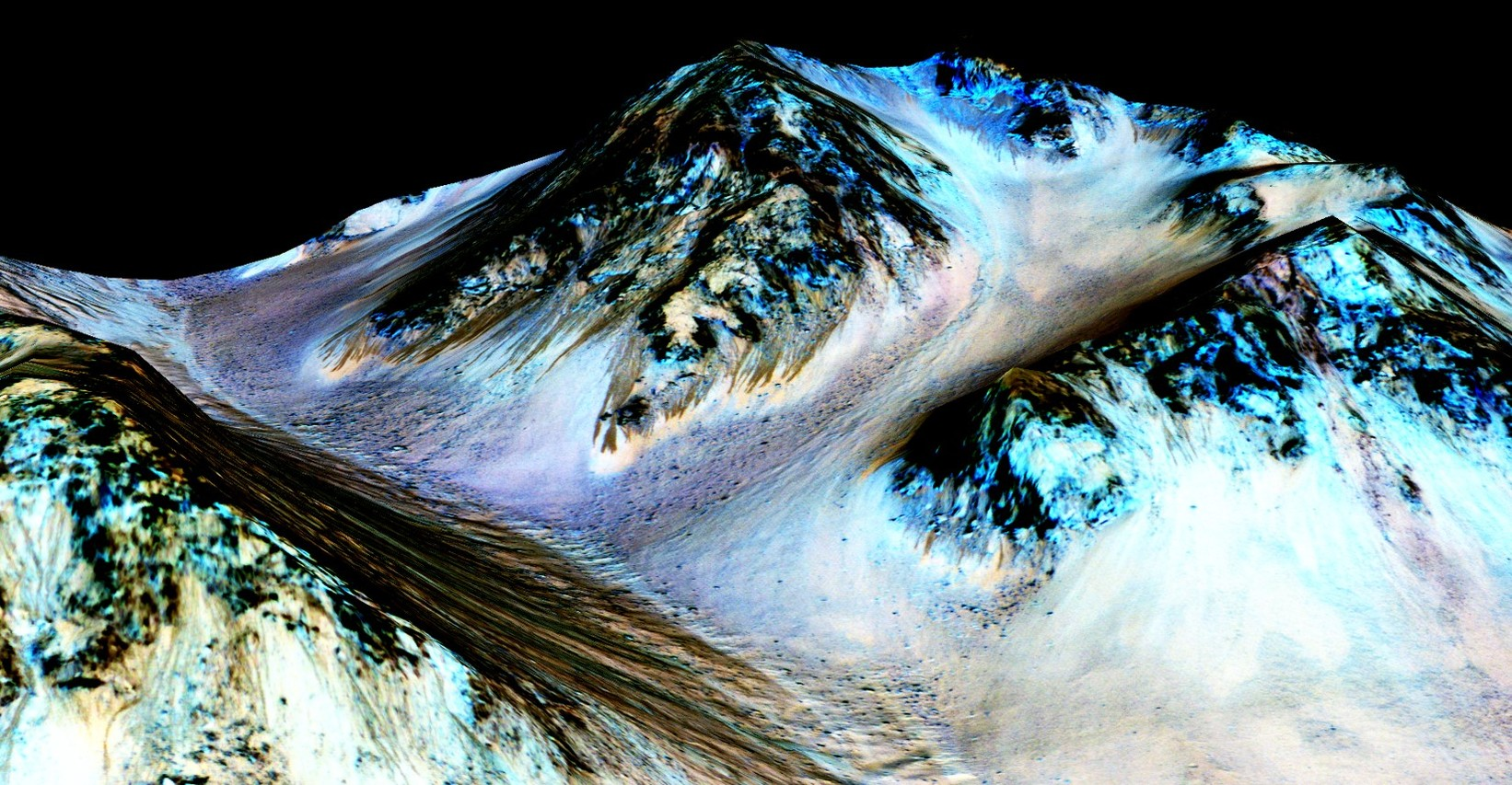 Streaks down Martian mountains are evidence of liquid water running downhill – and hint at the possibility of life on the planet. - Image Credit:  NASA/JPL/University of Arizona ,  CC BY