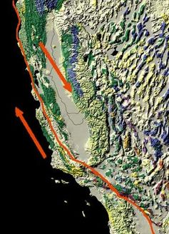 Map of the San Andreas Fault, showing relative motion. - Image Credit:     USGS PD