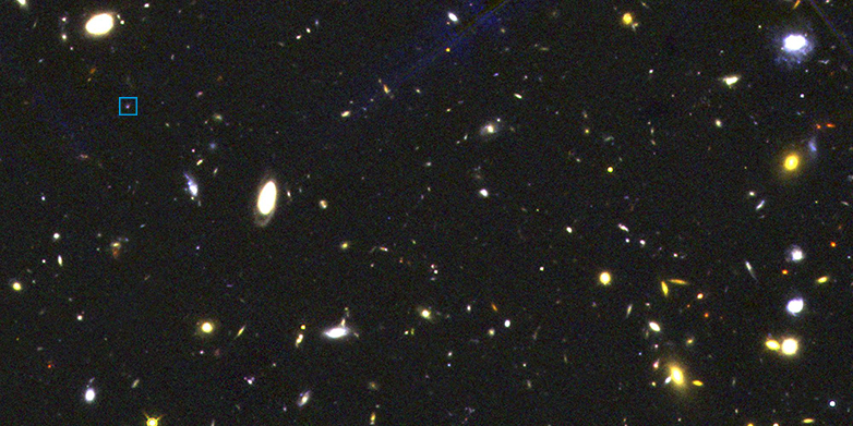 A view of the Universe with the Hubble Space Telescope. Galaxy 434625, marked with a square, shows how galaxies looked 11 billion years ago, when they played by different rules. (Photograph: 3D-HST / NASA / ESA / STScI)