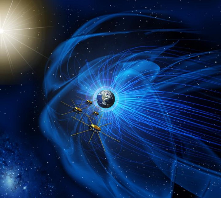 Four identical NASA spacecraft fly near the sun-facing boundary of Earth's magnetic field (the blue wavy lines). – Image Credit: NASA
