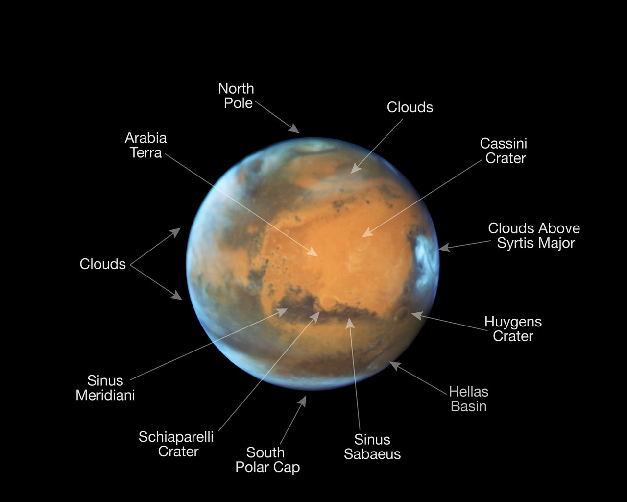 This image shows our neighbouring planet Mars, as it was observed shortly before opposition in 2016 by the NASA/ESA Hubble Space Telescope.  Some prominent features on the surface of the planet have been annotated. - Image    Credit:   NASA,ESA, the Hubble Heritage Team (STScI/AURA), J. Bell (ASU), and M. Wolff (Space Science Institute)