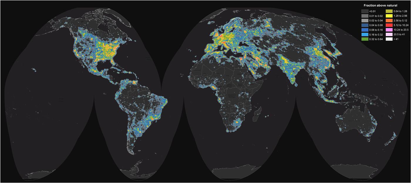 World map of artificial sky brightness. - Image Credit:  F. Falchi, et al. Science Advances (2016)  ,  CC BY-NC