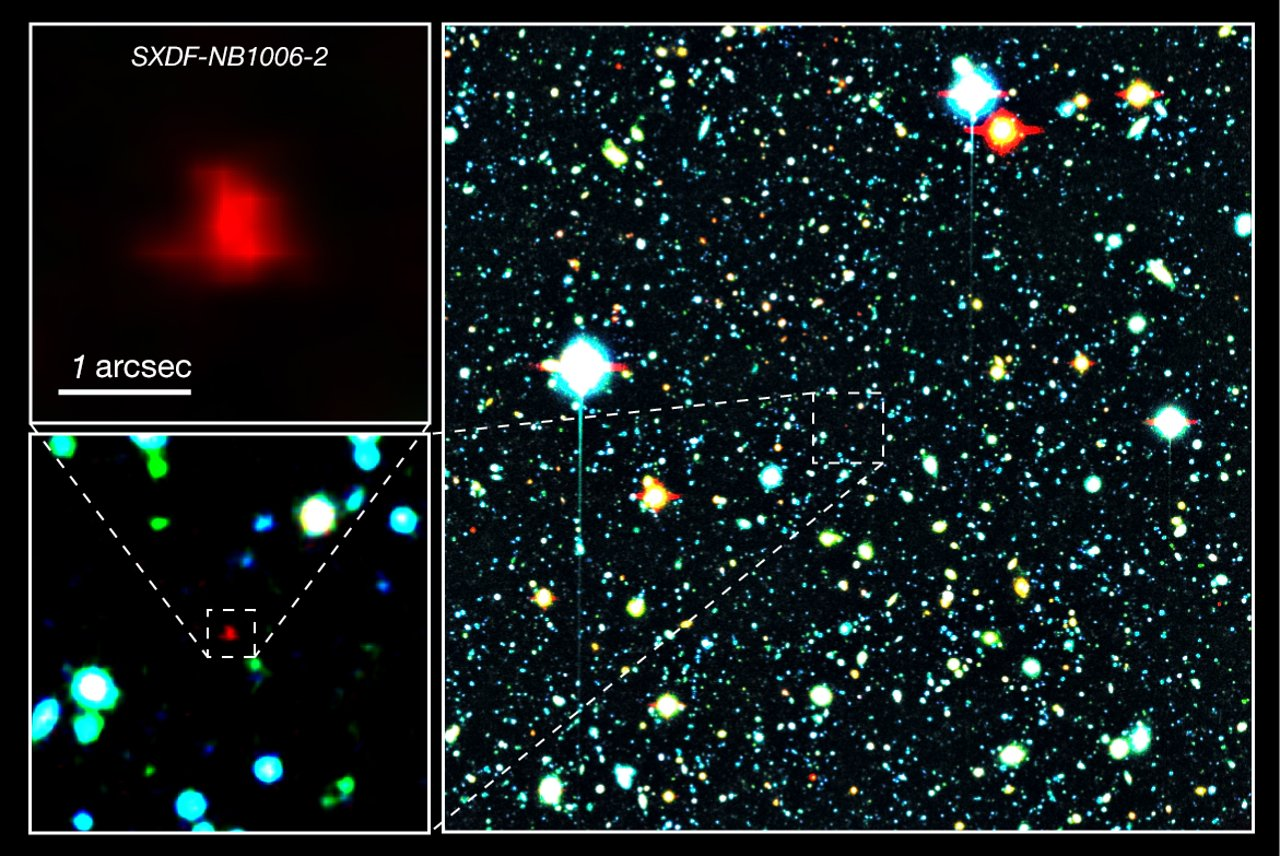 Right panel: The red galaxy at the center of the image is the very distant galaxy, SXDF-NB1006-2. Left panels: Close-ups of the distant galaxy. - Credit: NAOJ