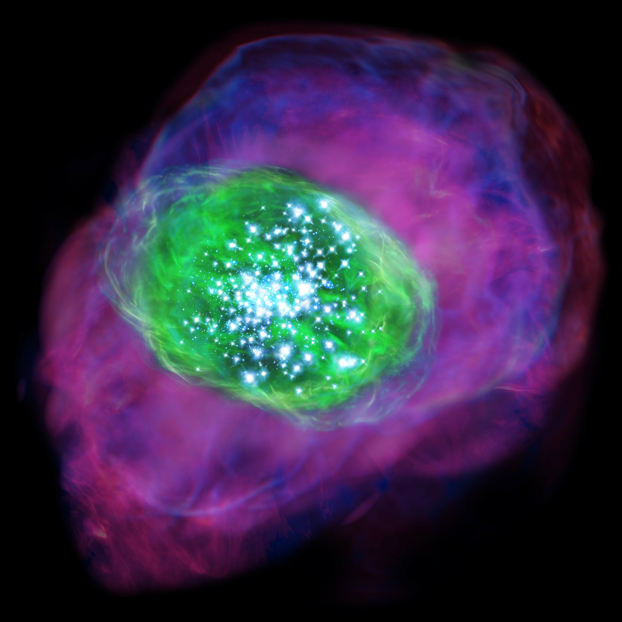 Many young bright stars are located in the galaxy and ionise the gas inside and around the galaxy. Green colour indicates the ionised oxygen detected by ALMA, whereas purple shows the distribution of ionised hydrogen detected by the Subaru Telescope. - Credit: NAOJ