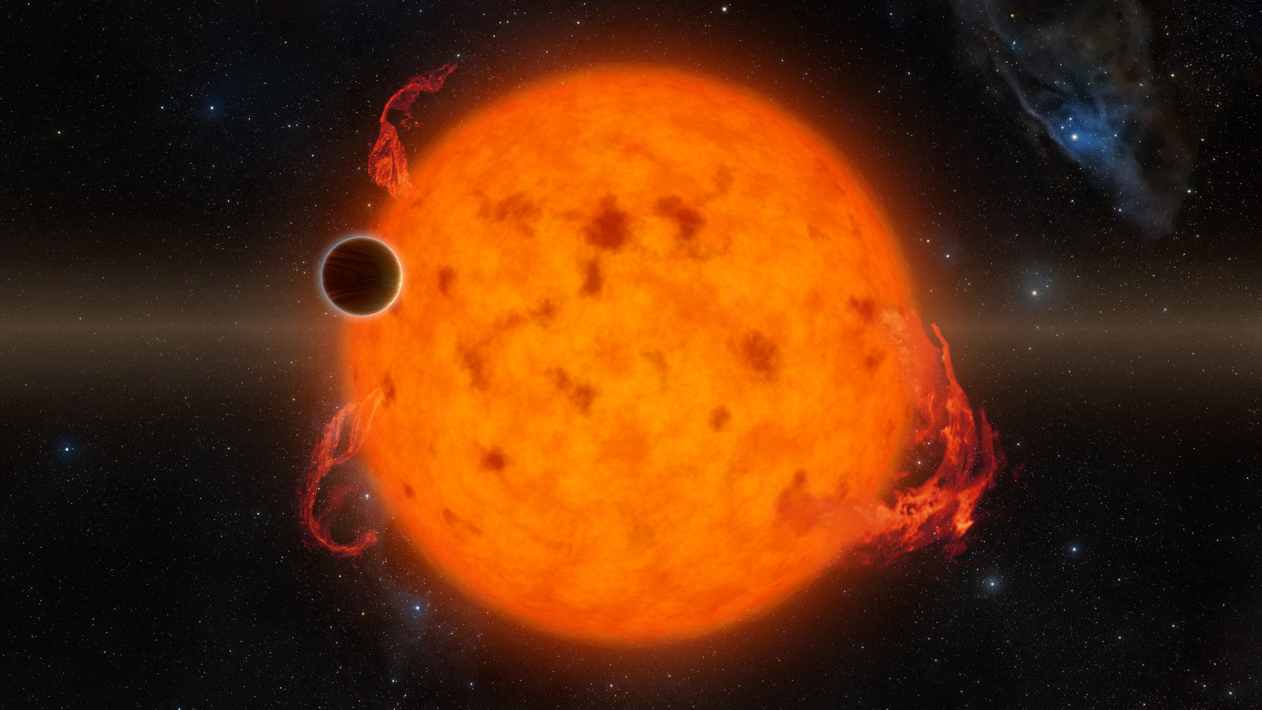 K2-33b, shown in this illustration, is one of the youngest exoplanets detected to date. It makes a complete orbit around its star in about five days. -  Credits: NASA/JPL-Caltech