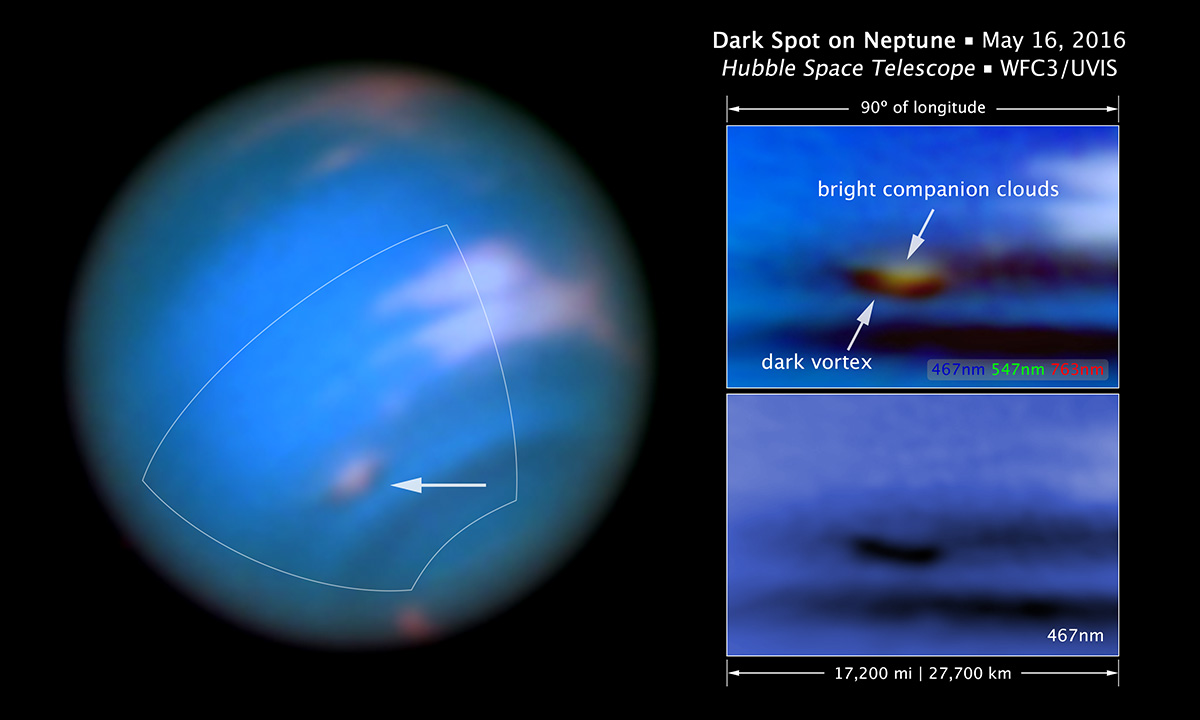 This new Hubble Space Telescope image confirms the presence of a dark vortex in the atmosphere of Neptune. The full visible-light image at left shows that the dark feature resides near and below a patch of bright clouds in the planet's southern hemisphere. The full-color image at top right is a close-up of the complex feature. The vortex is a high-pressure system. The image at bottom right shows that the vortex is best seen at blue wavelengths - Image   Credits: NASA, ESA, and M.H. Wong and J. Tollefson (UC Berkeley)