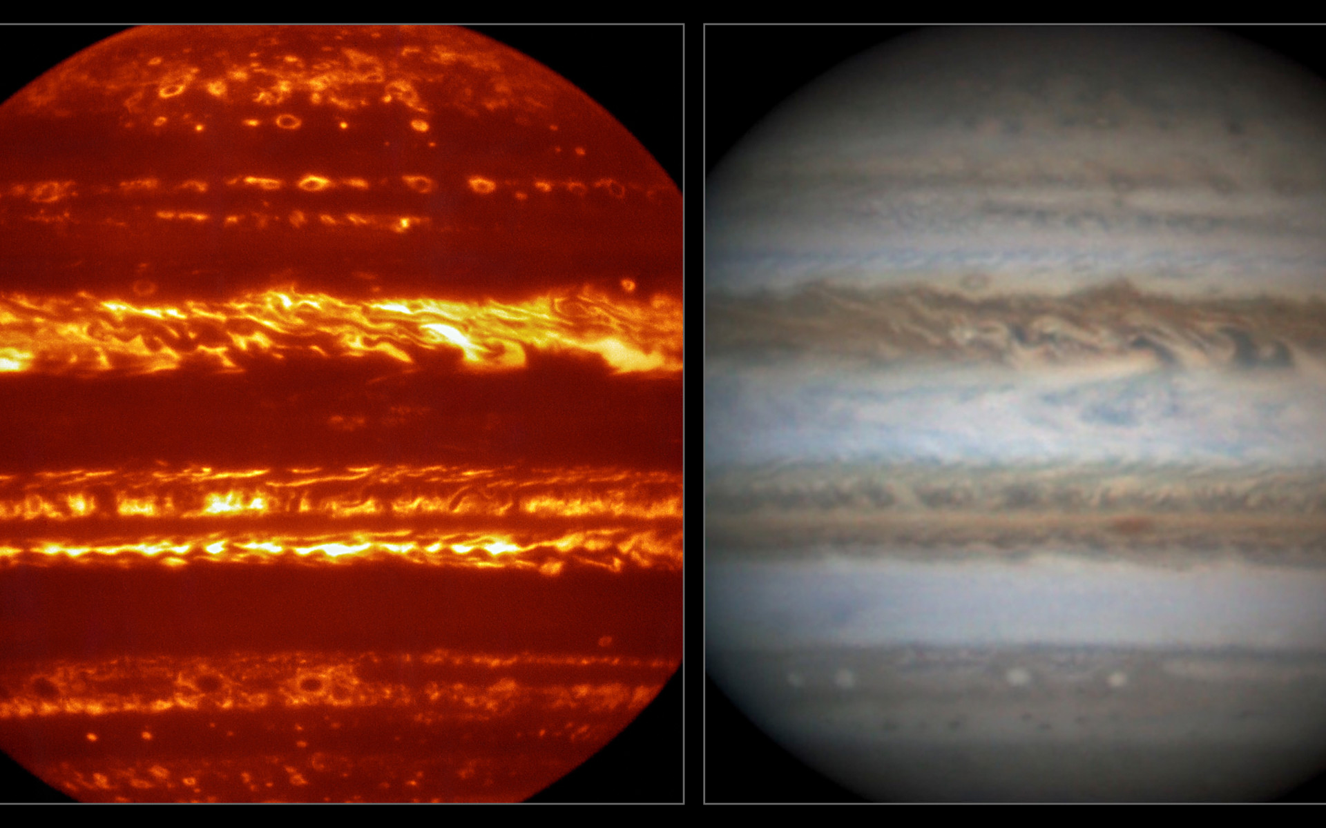 This view compares a lucky imaging view of Jupiter from VISIR (left) at infrared wavelengths with a very sharp amateur image in visible light from about the same time (right). - Image   Credit:ESO/L.N. Fletcher/Damian Peach
