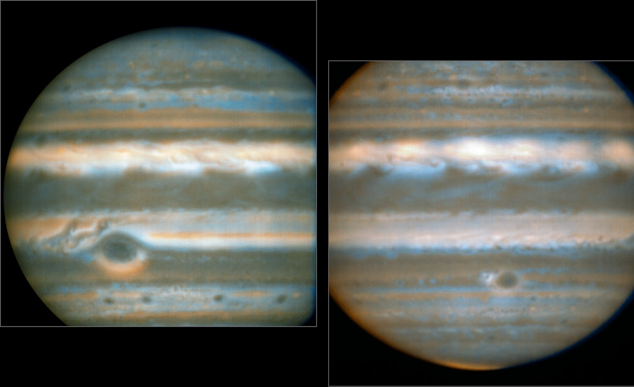 False colour images generated from VLT observations in February and March 2016, showing two different faces of Jupiter. The bluer areas are cold and cloud-free, the orangey areas are warm and cloudy, more colourless bright regions are warm and cloud-free, and dark regions are cold and cloudy (such as the Great Red Spot and the prominent ovals). The wave pattern over the North Equatorial Band shows up in orange.  This view was created from VLT/VISIR infrared images from February 2016 (left) and March 2016 (right). The orange images were obtained at 10.7 micrometres wavelength and highlight the different temperatures and presence of ammonia. The blue images at 8.6 micrometres highlight variations in cloud opacity. - Image   Credit:  ESO/L.N. Fletcher