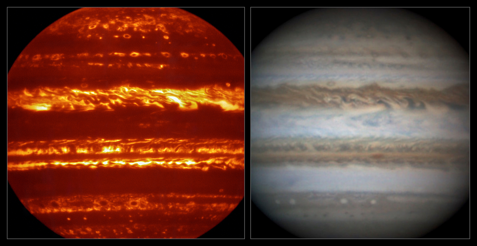 Ground-based observations of Jupiter to support Juno. The left hand image shows Jupiter's infrared glow with dark clouds in silhouette against the bright background (Credit: ESO/L.N. Fletcher), the right hand image is an amateur observation acquired at nearly the same time (Credit: D. Peach). - Image Credit:ESO/L.N. Fletcher/D. Peach