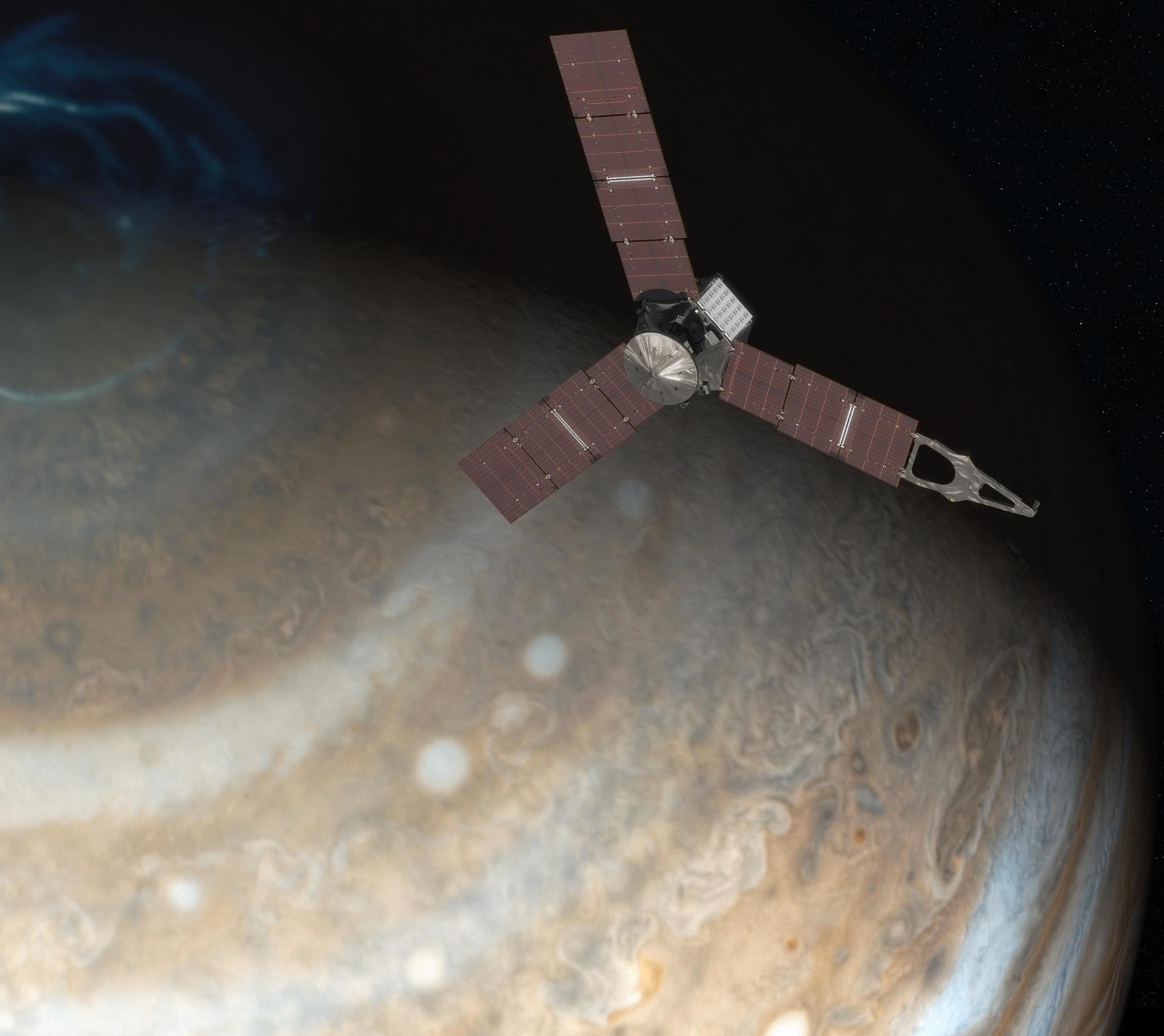 An artist's impression of Juno above Jupiter's pole. - Image Credit: NASA/JPL-Caltech