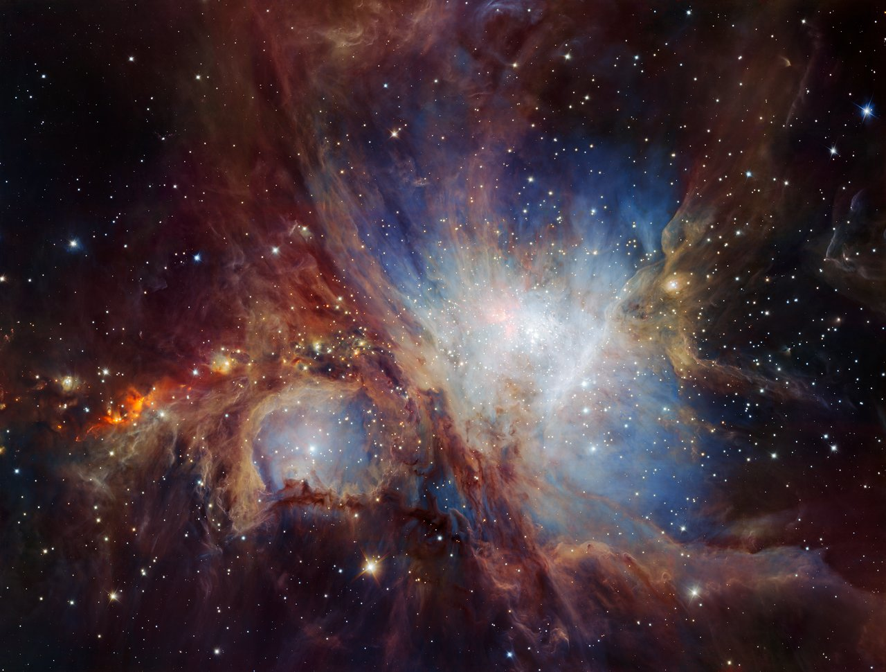This spectacular image of the Orion Nebula star-formation region was obtained from multiple exposures using the HAWK-I infrared camera on ESO's Very Large Telescope in Chile. This is the deepest view ever of this region and reveals more very faint planetary-mass objects than expected. – Image Credit: ESO/H. Drass et al.