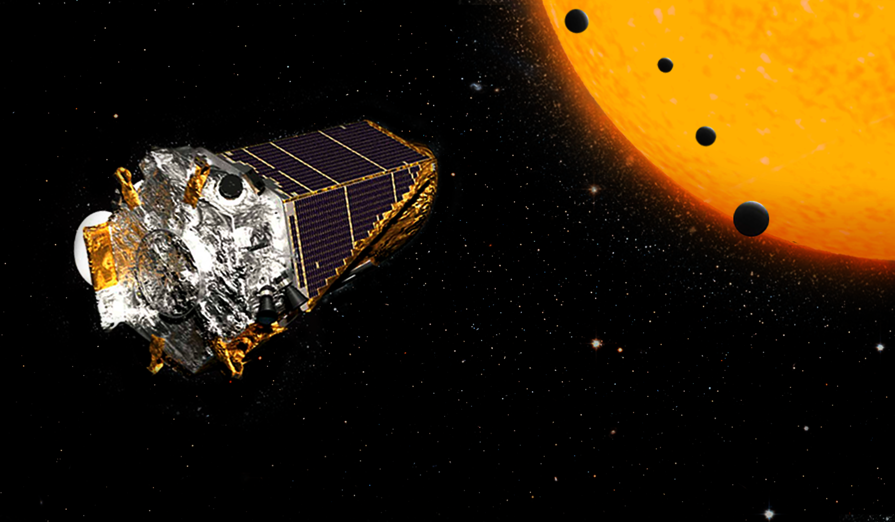 """Artist concept. A crop of more than 100 planets, discovered by NASA's Kepler Space Telescope, includes four in Earth's size-range orbiting a single dwarf star. Two of these planets are too hot to support life as we know it, but two are in the star's """"habitable"""" zone, where liquid water could exist on the surface. These small, rocky worlds are far closer to their star than Mercury is to our sun. But because the star is smaller and cooler than ours, its habitable zone is much closer. One of the two planets in the habitable zone, K2-72c, has a """"year"""" about 15 Earth-days long—the time it takes to complete one orbit. This closer planet is likely about 10% warmer than Earth. On the second, K2-72e, a year lasts 24 Earth days, this slightly more distant planet would be about 6% colder than Earth.- Image Credits: NASA/JPL"""