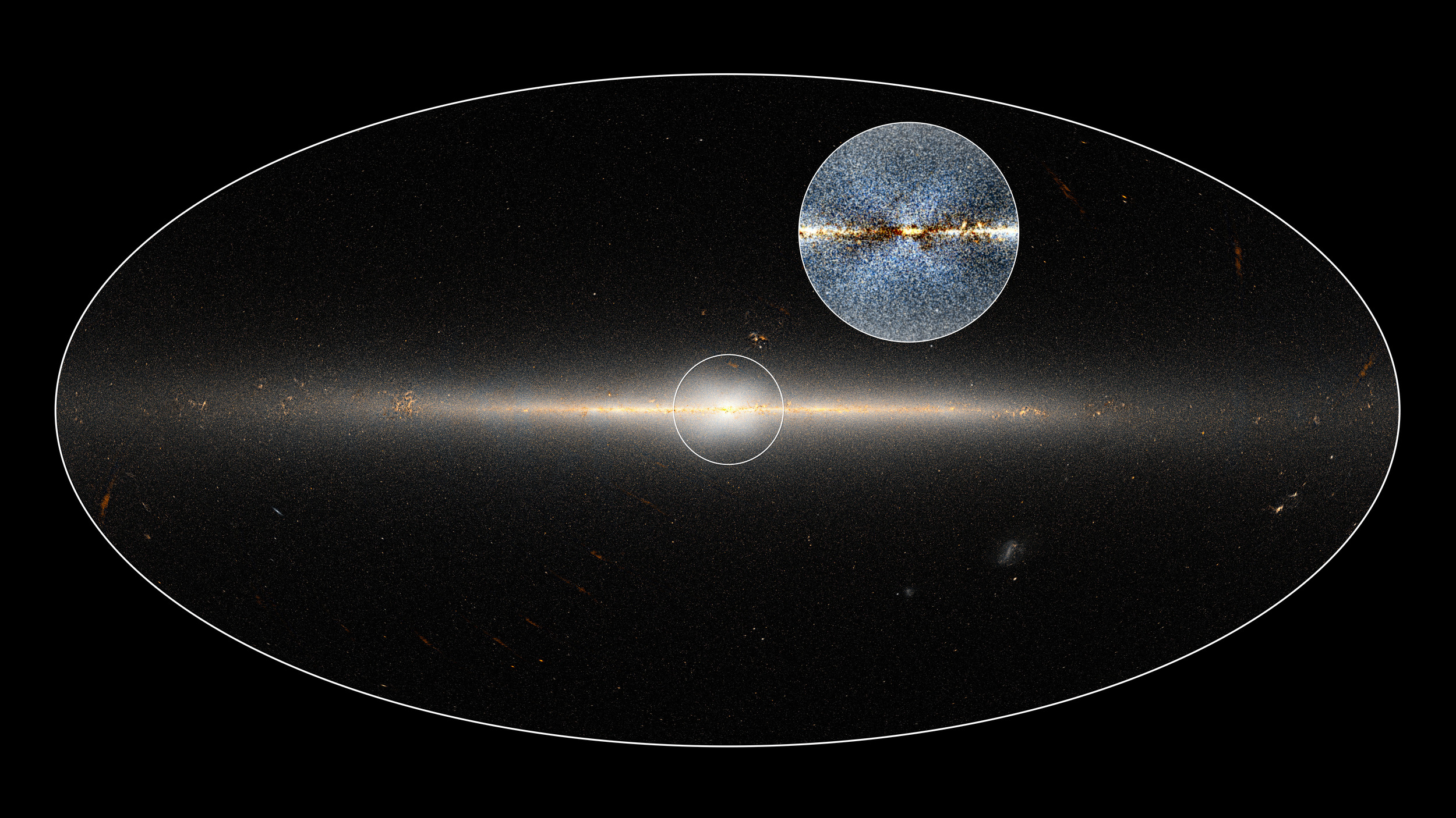 In 2010, NASA's Wide-field Infrared Survey Explorer (WISE) mission observed the entire sky twice. Astronomers used these data to point out the X-shaped structure in the bulge of the Milky Way, contained in the small circle at center, as well as the inset image. The circled central portion covers roughly the area of sky that would be blocked by a basketball when held out at arm's length. – Image Credits: NASA/JPL-Caltech/D.Lang
