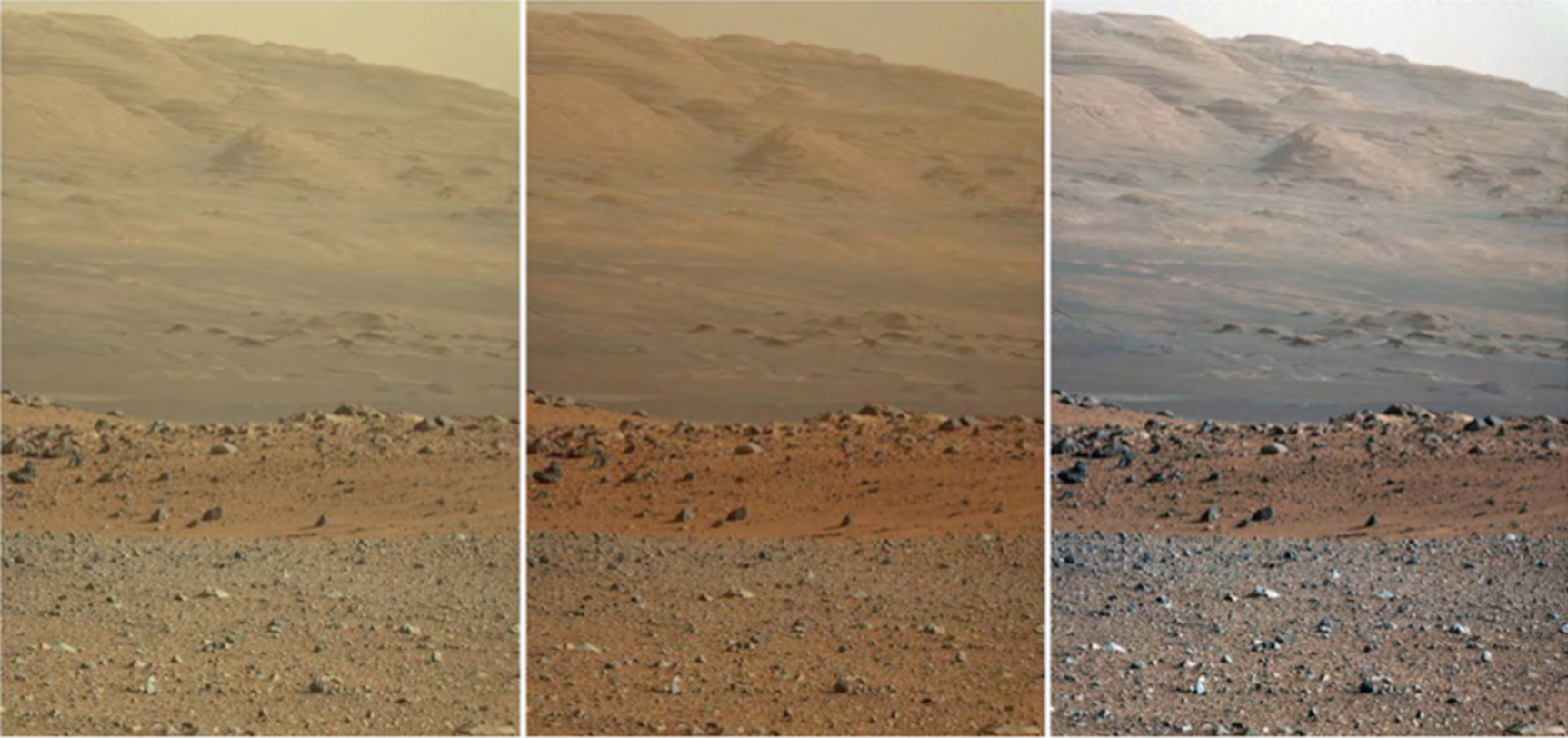 Three versions of the same view on the surface of Mars from NASA's Curiosity rover. Left: unprocessed. Middle: adjusted to how human eyes would see it. Right: how it would look under Earth-like lighting conditions (note how the colour of the sky has changed)– Image Credit: NASA/JPL-Caltech/MSSS