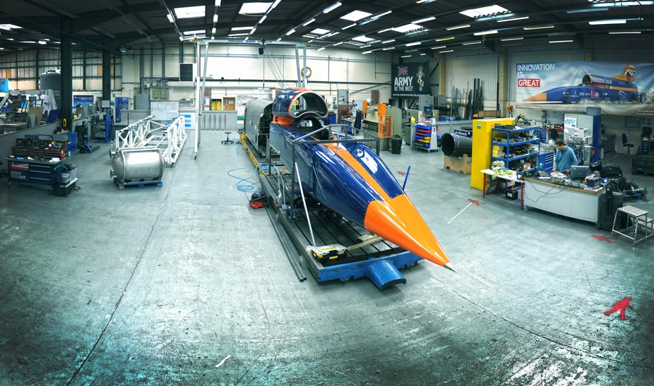 BLOODHOUND SSC during construction at the Bloodhound Technical Centre, Avonmouth, summer 2015. Author provided