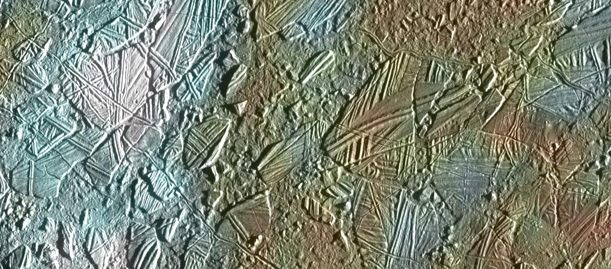 Europa's 'chaos terrain', caused by repeated freezing and melting. – Image Credit: NASA