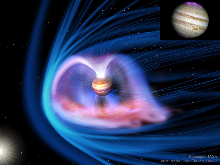 Jupiter's magnetosphere and aurora. - Image Credit:  NASA, ESA, Chandra, Hubble