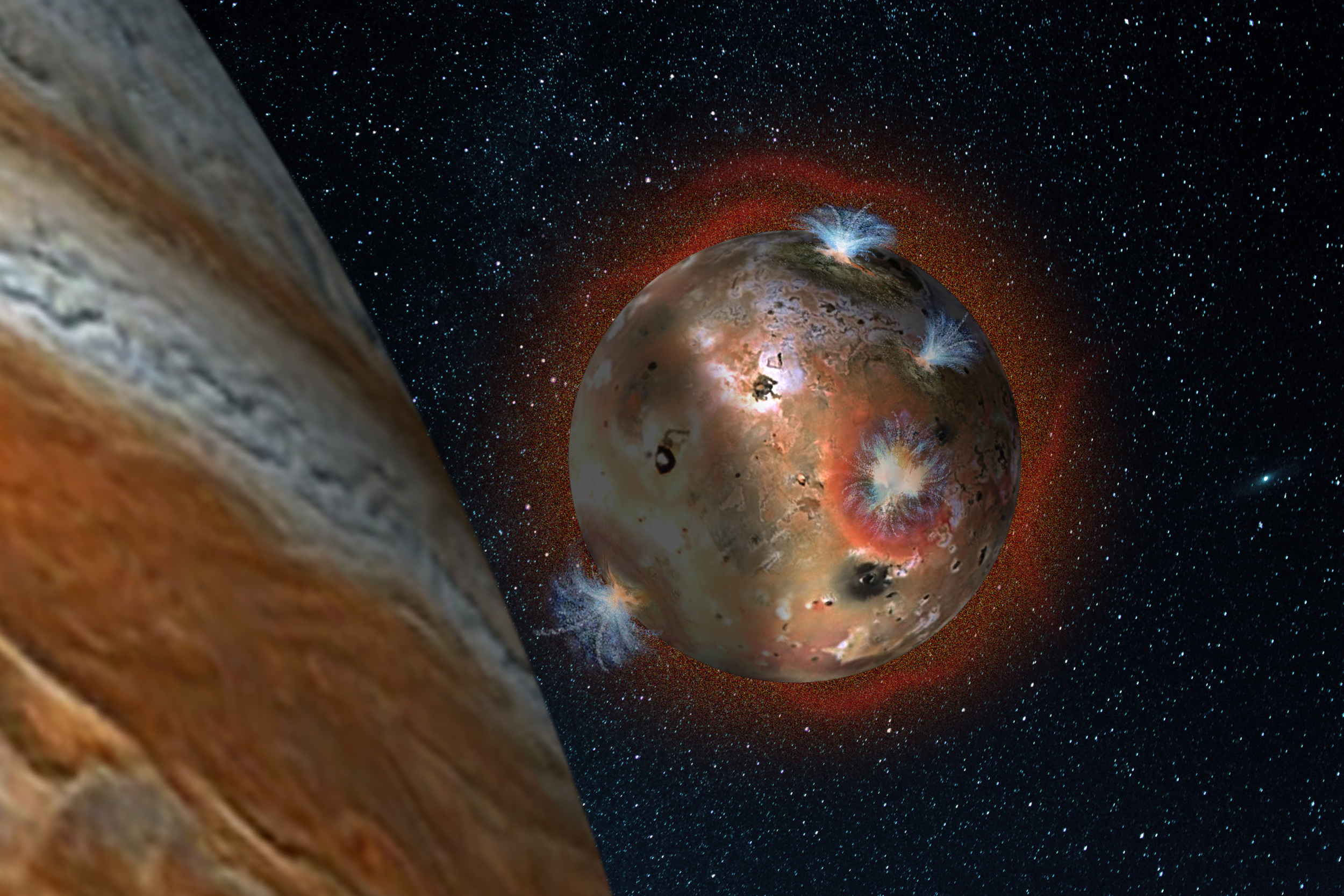 "Artist's concept of the atmospheric collapse of Jupiter's volcanic moon Io, which is eclipsed by Jupiter for two hours of each day (1.7 Earth days). The resulting temperature drop freezes sulfur dioxide gas, causing the atmosphere to ""deflate,"" as seen in the shadowed area on the left. - Credits: SwRI/Andrew Blanchard"