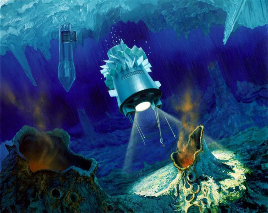 Artist's impression of a cryobot and submarine in the ice on Jupiter's Europa. - Image Credit: NASA/JPL
