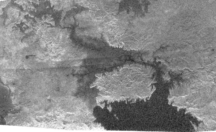 Cassini radar image of the northern region of Kracken Mare on Titan showing the large island of Mayda Insula.– Image Credit: NASA/Jet Propulsion Laboratory-Caltech/Agenzia Spaziale Italiana.