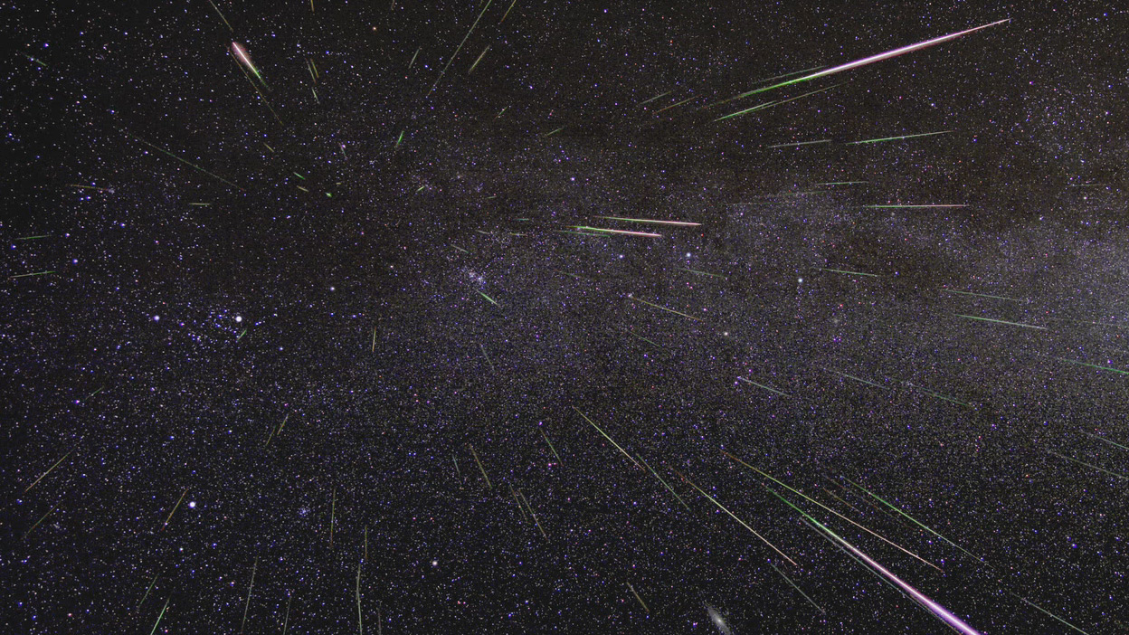 An outburst of Perseid meteors lights up the sky in August 2009 in this time-lapse image. Stargazers expect a similar outburst during next week's Perseid meteor shower, which will be visible overnight on Aug. 11 and 12. – Image Credits: NASA/JPL